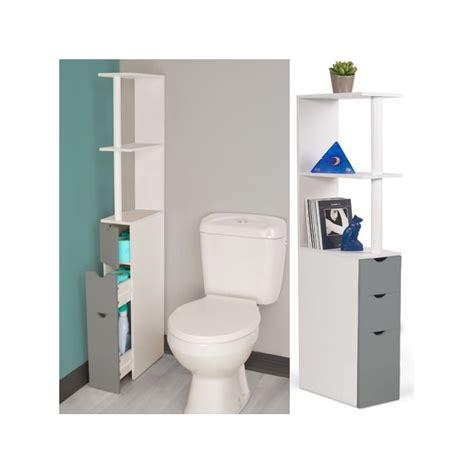 Livraison rapide à domicile, en point relais ou en magasin. Meuble WC étagère bois blanc et gris gain de place pour toilettes...