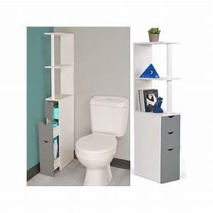 Meuble wc etagere bois blanc et gris gain de place pour for Meuble wc but