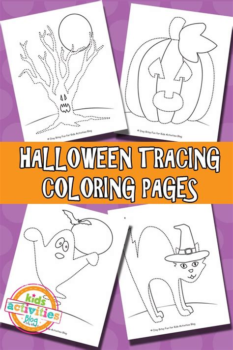 halloween tracing coloring pages  printable kids activities