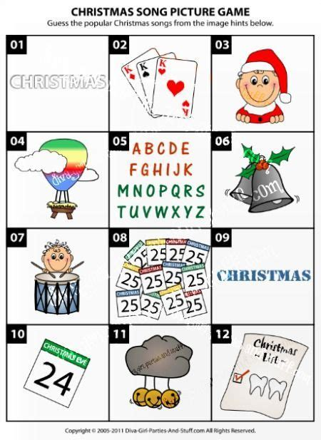 100 music trivia questions and answers to stump your friends and inspire amazing playlists. Christmas Song Picture Game | Christmas | Christmas trivia, Christmas gift exchange games ...
