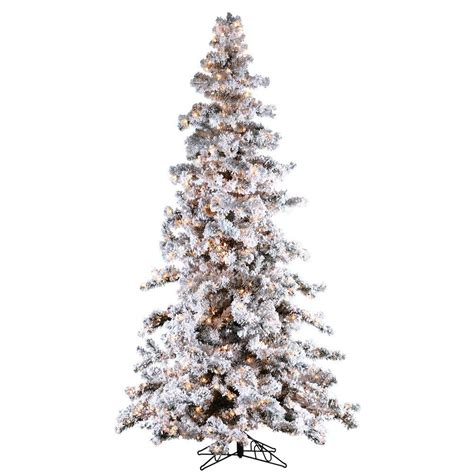 sterling 9 ft pre lit heavy flocked white spruce artificial tree with clear lights