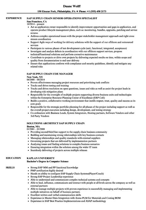Supply Chain Project Manager Resume by Sap Supply Chain Resume Sles Velvet