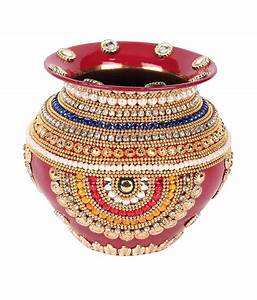 Suman Creations Red Copper Pot Kalash With Diamonds And