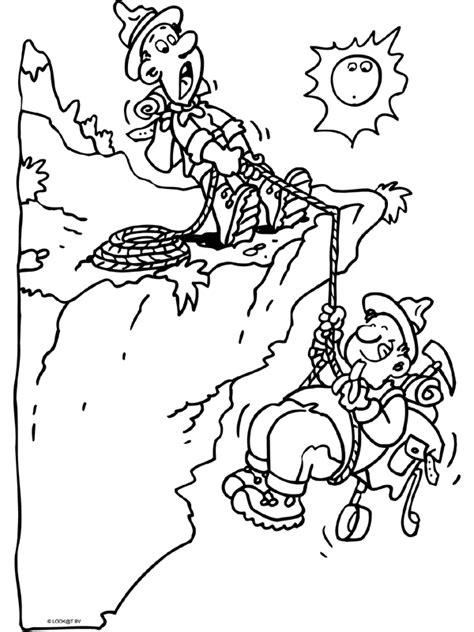 Kleurplaat Klimmen by Kleurplaat Bergbeklimmer In Nood Kleurplaten Nl