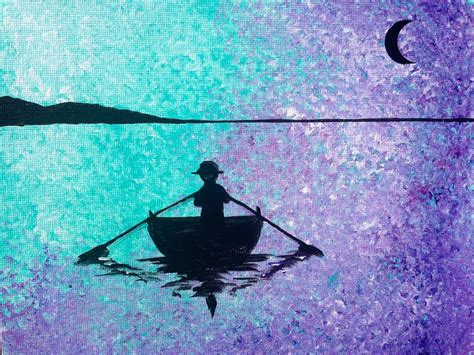 Easy Rowboat by Easy Acrylic Social Painting Row Boat Silhouette Lake