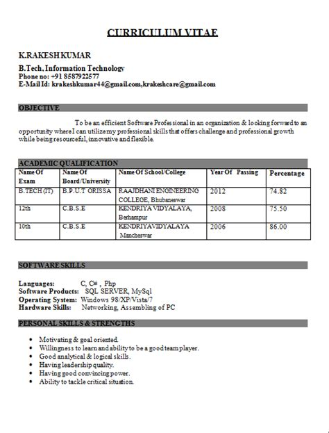 Best Resume Format For Fresher by It Engineer Fresher Resume Kundan Engineering Resume