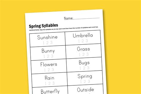worksheet wednesday spring syllables paging supermom