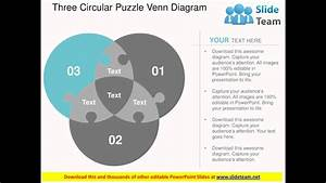 Three Circular Puzzle Venn Diagram Flat Powerpoint Design