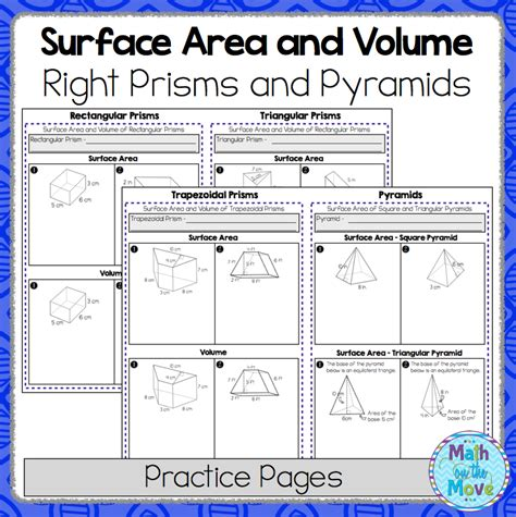 surface area and volume of right prisms and pyramids