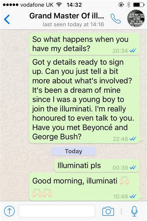joining illuminati check out hilarious conversation between a who wanted