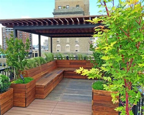 nyc custom roof deck ipe metal pergola ipe bench