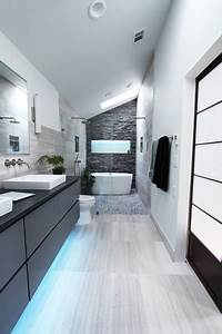 cool gray contemporary bathroom atlanta by change With carrelage adhesif salle de bain avec mini led downlights