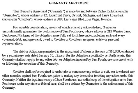 Loan Personal Guarantee Form