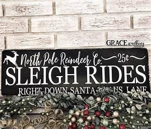 Christmas, Decorations, North, Pole, Reindeer, Company, Sleigh, Rides, Christmas, Sign, Christmas, Wood