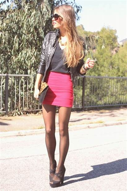 Leather Outfit Jacket Skirts Tights Pantyhose Outfits