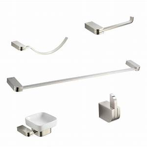 kingston brass 5 piece bathroom accessory set in satin With brushed nickel bathroom hardware sets