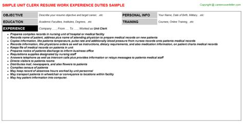 Unit Resume by Unit Clerk Resumes Resumes Templates