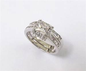 halo engagement set rhodium plated cz wedding rings sizes With rhodium wedding rings