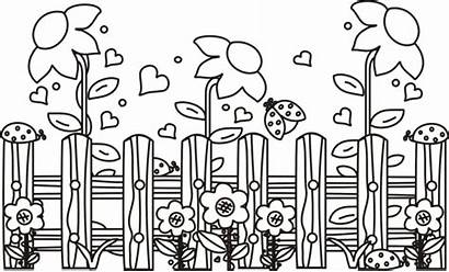 Coloring Garden Pages Flower Fence Template Google