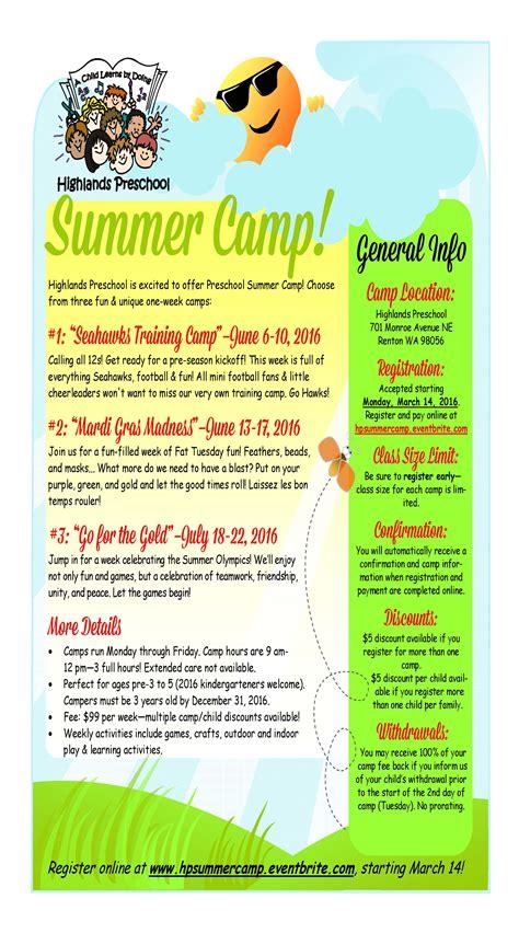highlands preschool summer camps 2016 registration renton 452 | summercampflyer2016