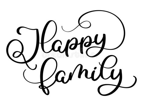 Happy Family Text On White Background Hand Drawn