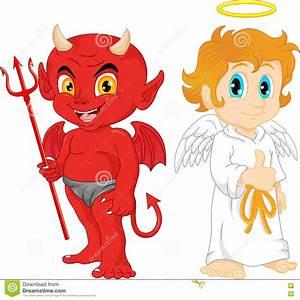 Cartoon Little Angel And Devil Stock Vector - Illustration ...