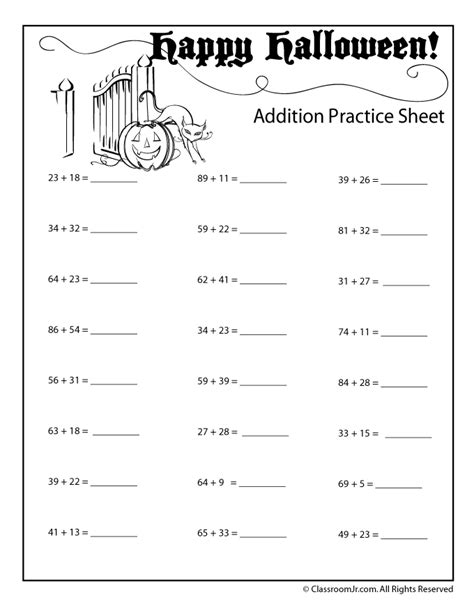 double digit halloween addition worksheet numbers up to