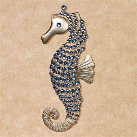 seahorse gems metal wall art