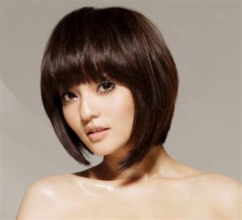 cute asian modern bob haircut  long bang