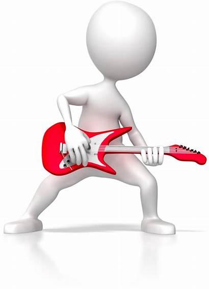 Stick 3d Figure Presentation Rock Guitar Animated