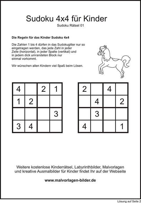 Pdf kreuzworträtselvorlage für erwachsene zum gratis download. Kinder Sudoku 4x4 zum gratis Download