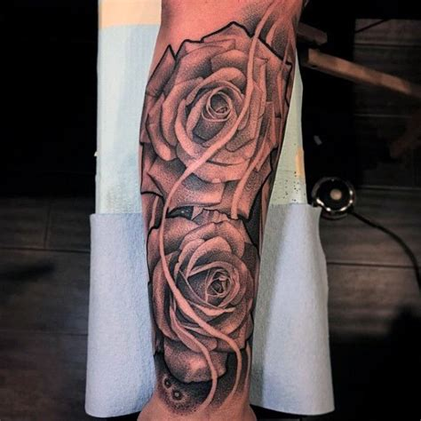 rose flowers  sleeve forearm tattoos  men black