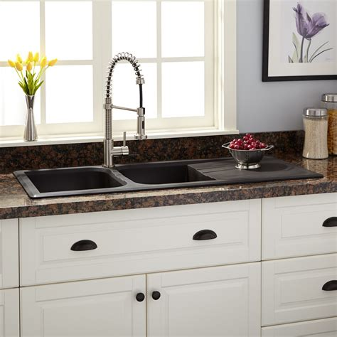 black granite kitchen sink 46 quot owensboro double bowl drop in granite composite sink