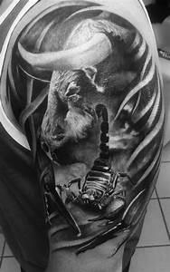 Stier Und Skorpion : taurus bull stier scorpion theme black and grey realistic ~ A.2002-acura-tl-radio.info Haus und Dekorationen
