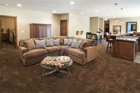Lower Level Family Room with Wet Bar   Traditional