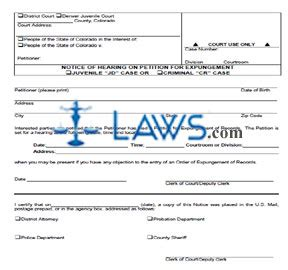 petition to seal form arkansas notice of hearing on petition for expungement colorado