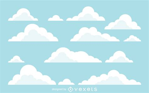 flat cloud illustrations background vector
