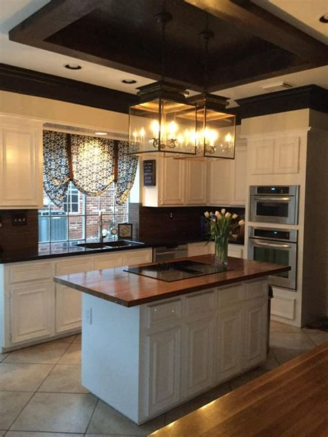 lighting above kitchen island beautiful redesigned kitchen with wood tray ceiling above