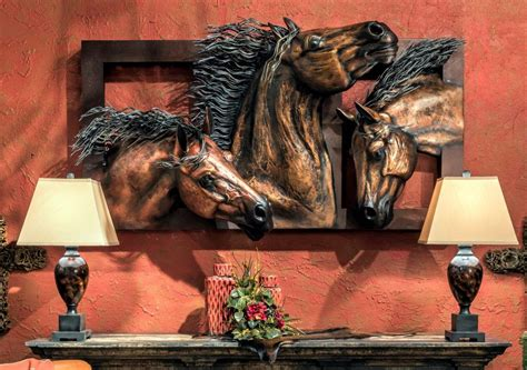 The wall art fills your space with artsy, cute, and often aesthetic vibes that will make the space more. 3D Bronze Trio of Horses - Large Metal Wall Art | Large metal wall art, Horses wall decor, Metal ...