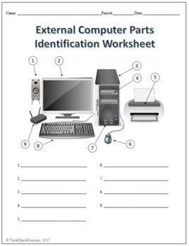 3 computer parts labeling worksheets activity by techcheck