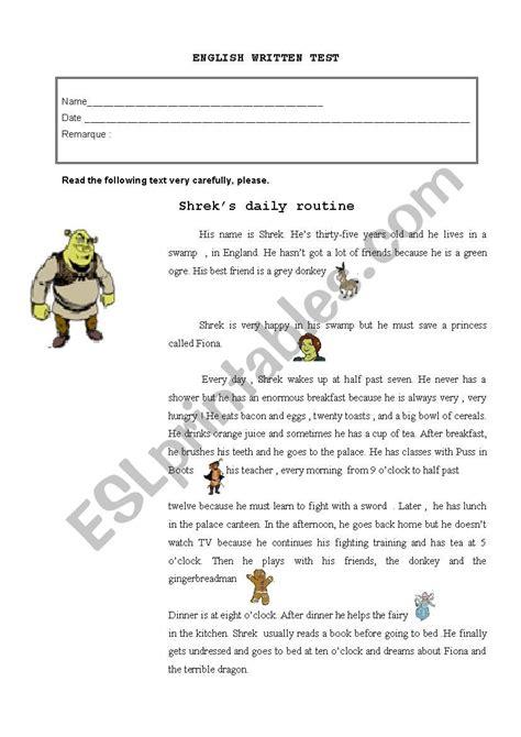 shreks routine esl worksheet  storyteller