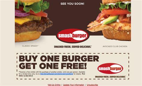 32433 Whataburger Printable Coupons by Bogo Free Entree At Smash Burger Free Stuff Times Coupons