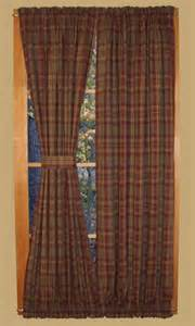 primitive plaid homestead door panel curtains waverly