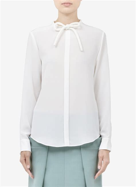 white blouse with bow chloé bow detail silk blouse in white lyst