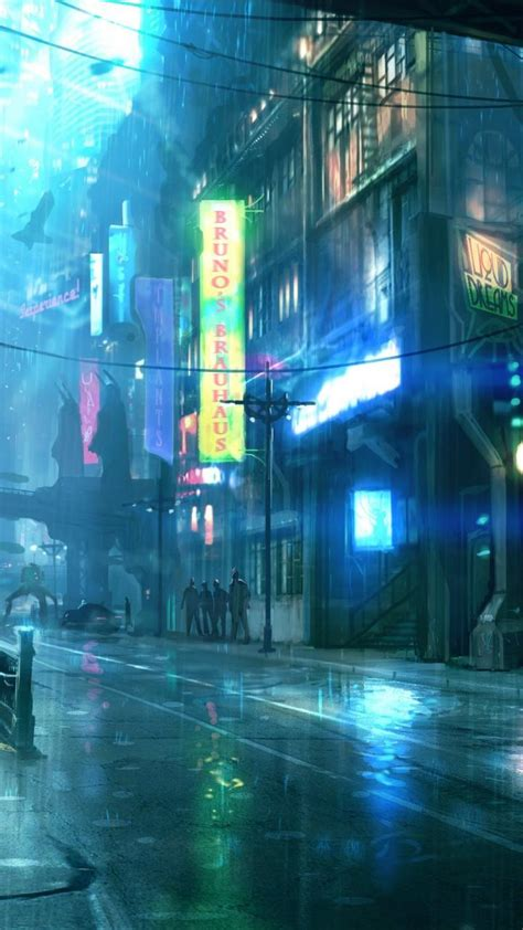 cyberpunk dreamfall city lights drawings cities street