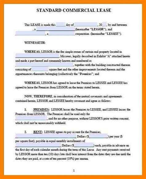 lease contract templates  restaurant cafe bakery