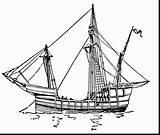 Boat Ship Sail Coloring Came Pinta Drawing Ships Elegant Sheet Columbus Gcssi Vector Adult sketch template