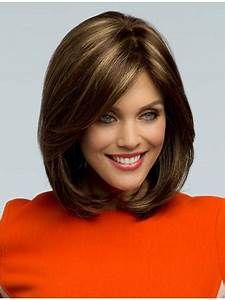 Brown Shoulder Length Wavy With Bangs Synthetic Wigs How