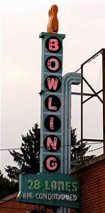 Mid Century Modern Bowling Alley Neon Sign Print