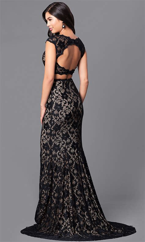 Long Black Lace Two-Piece Prom Dress - PromGirl